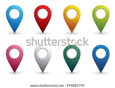 set of bright map pointers - stock vector