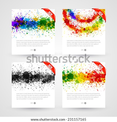 Set of bright paint splashes vector watercolor background. Eps 10 vector illustration - stock vector