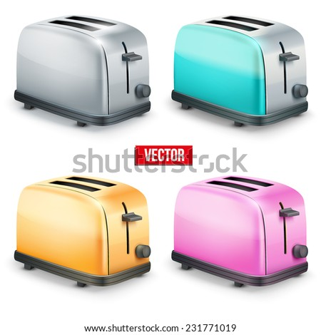 Set of Bright retro colorful Metal Glossy Toasters. Vector illustration isolated on white background. - stock vector