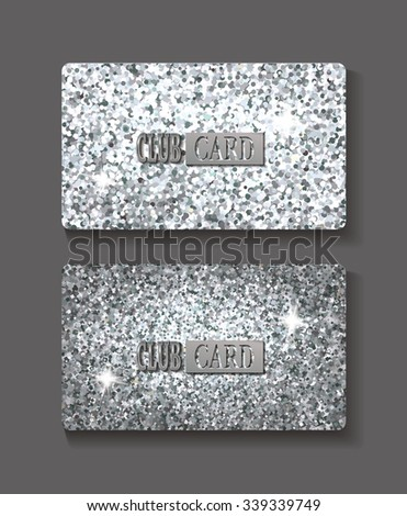 Set of bright shiny silver club cards