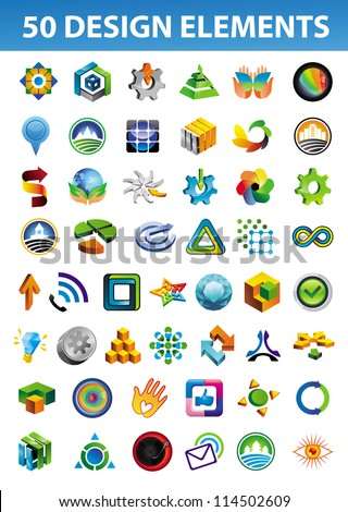 Set of bright signs and symbols for your corporate identity - 50 abstract logo design elements - stock vector
