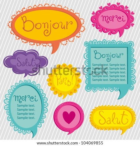 Set of bright tweet frames. Perfect for adding your own text. - stock vector