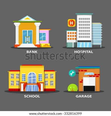 Set of bright vector buildings. School, hospital, garage and bank.  - stock vector