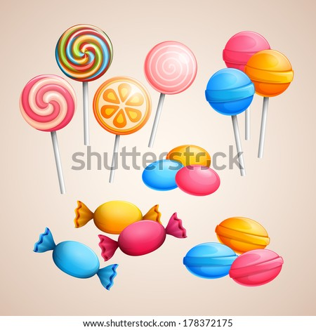 Set of bright vector candies - stock vector