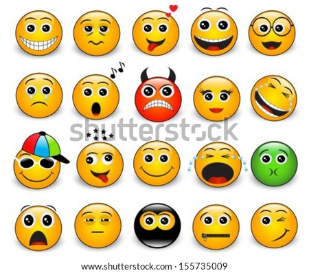 Set of bright yellow round emotions on a white background  - stock vector