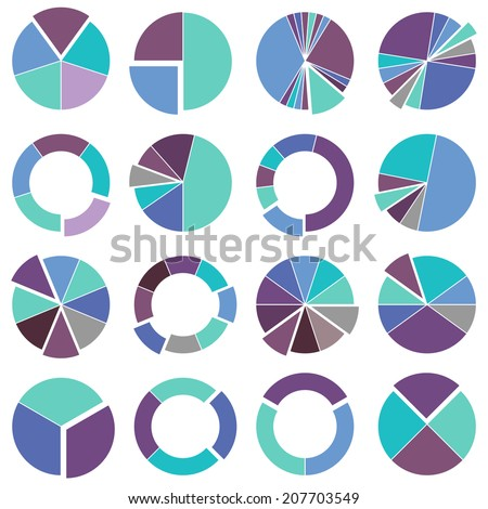 Set of brightly colored pie charts. Vector illustration of business infographics - stock vector
