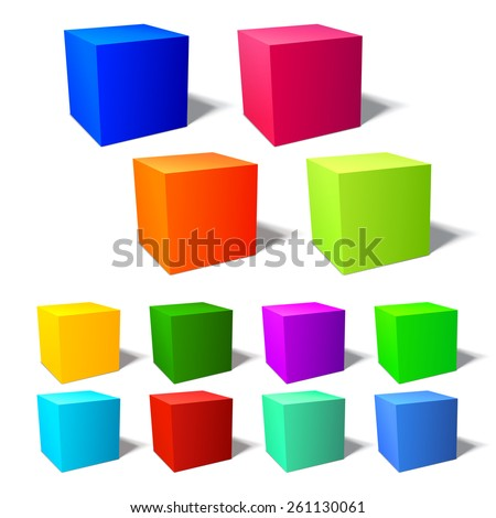 Set of brignt 3d cubes with harmonic color combinations - stock vector