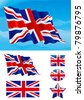 Set of British flag. Flag of United Kingdom on blue sky, Isolated on white background and icons with it - star, square and oval shape - stock photo