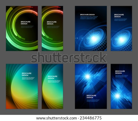 Set of Brochure Flyer design vector template Geometric Lines and Lights abstract backgrounds  - stock vector