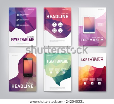 Set of brochure, flyer, report design templaes with triangular polygonal background, smartphone, mobile, technology. Clean and modern style - stock vector