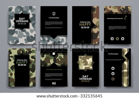 Set of brochure, poster templates in veterans day style. Beautiful design and layout - stock vector