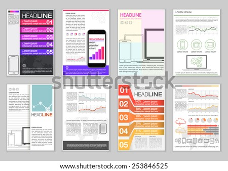 Set of Brochure Template with Infographic elements, charts and icons. Creative Vector Flyer, Pamphlet, Leaflet for business, marketing, advertising and corporate web site layout Design and Background. - stock vector