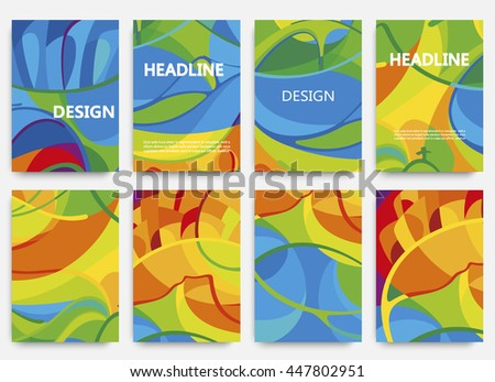 Set of brochures in colors of Brazil flag. Three color concept. Can be used in cover design, book design, website background, CD cover, advertising. Summer olympic games 2016. RIO. Parolympic