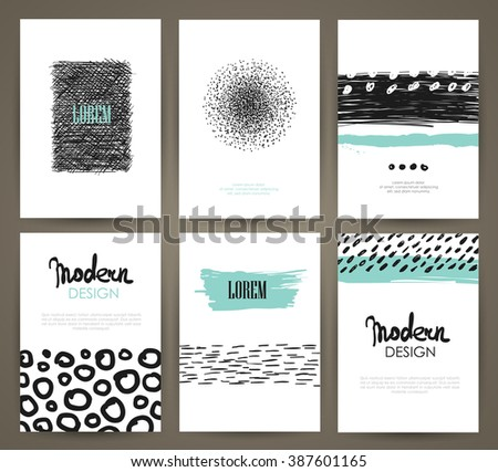 Set of brochures in with hand drawn design elements. Vector templates. Trendy patterns and textures. - stock vector