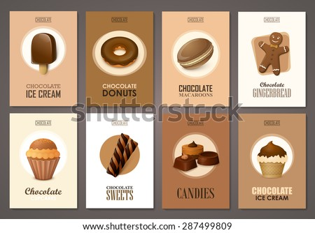 Set of brochures with sweets. Vector templates. Backgrounds with chocolate ice cream, cupcakes and candies. - stock vector