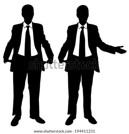 set of broke businessmen isolated - stock vector