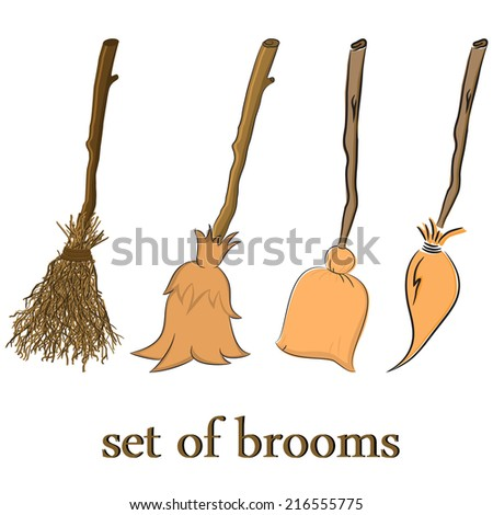 set of broom. clean up or fly - stock vector