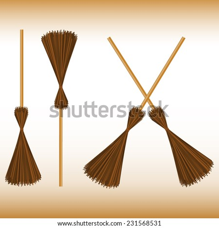 set of brooms on white background - stock vector