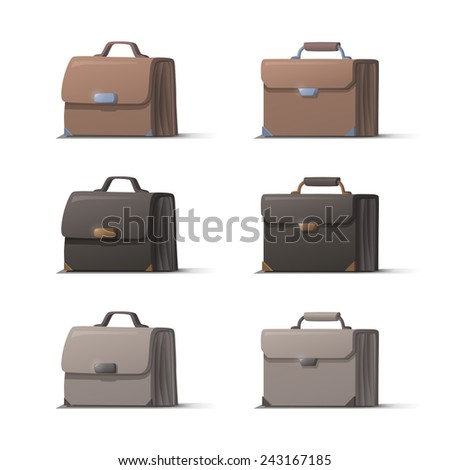 Set of brown black and white briefcases with shadows on white background, vector - stock vector