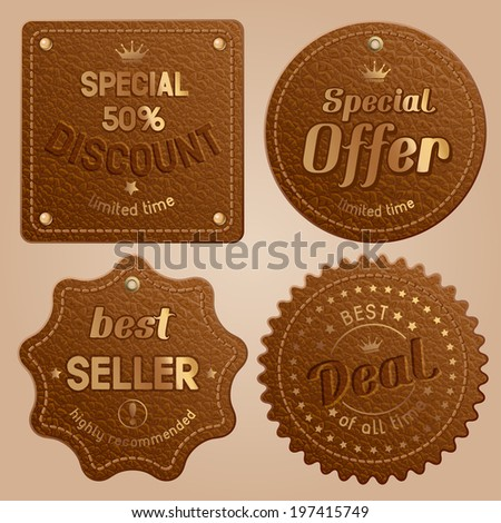 Set of brown leather label with golden rivet - stock vector