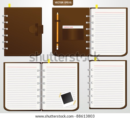 Set of Brown leather notebook with Keep the pencil and Storage card.. Vector template for design work