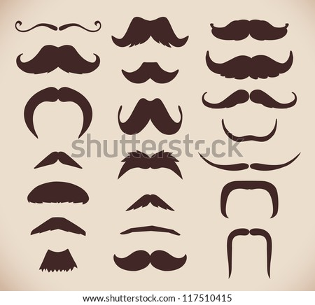 Set of brown mustache (mustache collection), retro style, vector illustration.