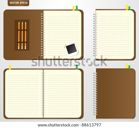 Set of Brown notebook and Keep the pencil, instant photo. Vector template for design work - stock vector