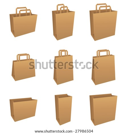 Set of brown product / shopping bags - stock vector