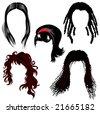 set of brunette hair style samples for woman - stock vector