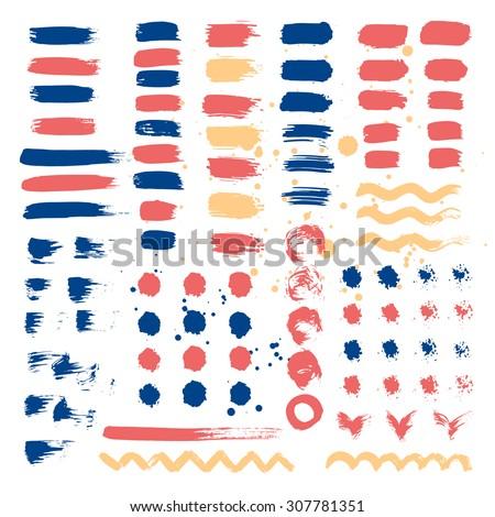 Set of brush strokes. Vector illustration. - stock vector