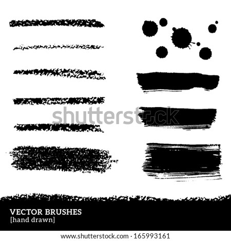 Set of brush strokes. Vector illustration. Grunge ink and paints stains. Black pastel crayons and pencil strokes. Isolated on white background. Abstract design elements, drops. - stock vector