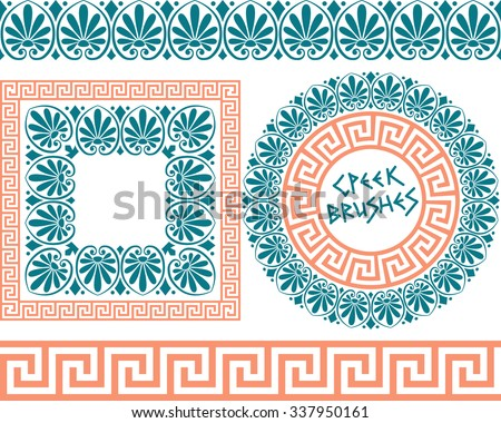 Set 1 of brushes to create the Greek Meander patterns and samples of their application for round and square frames. Brushes included in the file. - stock vector