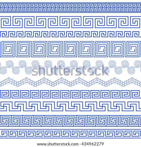Set of brushes to create the Greek Meander patterns.Greek traditional borders. Decoration elements in blue color isolated on white background. Could be used as divider, frame, etc.Vector illustration - stock vector