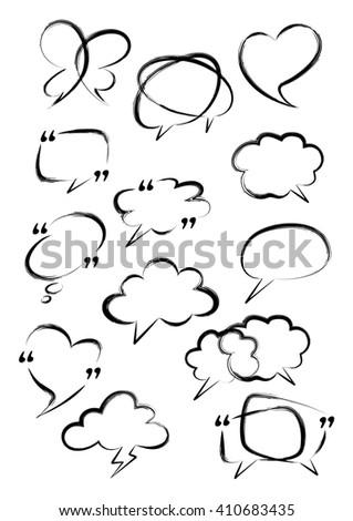 Set of bubble speech. Digital brush. Vector doodle hand drawn.  - stock vector