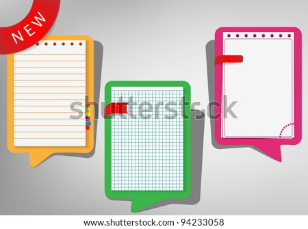 Set of bubble style notepads - stock vector