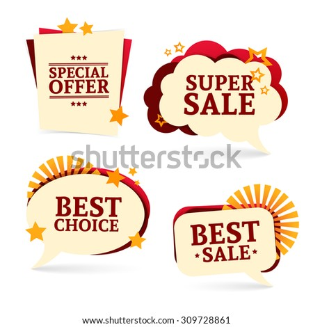 Set of bubbles. For the presentation, commerce, promotion, business. Logos, badges, tags for sale, choosing commercial offer. Bright colors. Vector. - stock vector