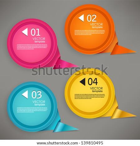 Set of bubbles, stickers, labels, tags. Numbered speech bubbles. Vector template for infographics - stock vector