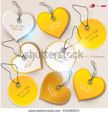 Set of bubbles, stickers, labels, tags. Shape of hearts. Valentine's Day