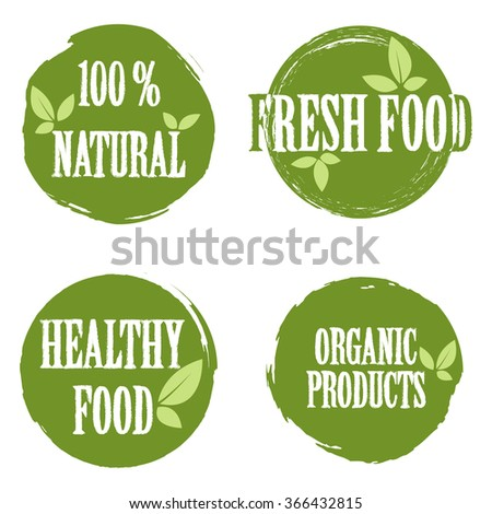 Set of bubbles, stickers, labels, tags with text. 100% natural product, 100% organic, healthy food. Organic food badges in vector (cosmetic, food). Fresh food.  - stock vector