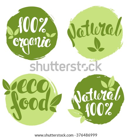 Set of bubbles, stickers, labels, tags with text. 100% natural product, 100% organic, healthy food. Organic food badges in vector (cosmetic, food).  - stock vector