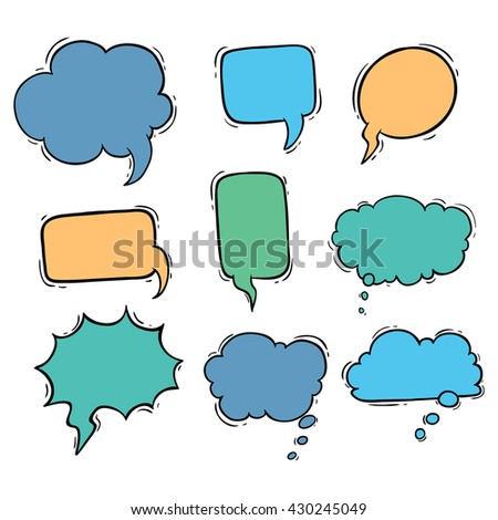 Set of bubbles talk with cute color and using doodle style
