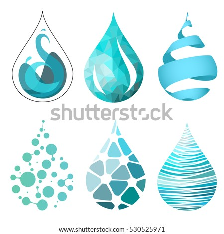 set bue bright different water drop stock vector royalty free