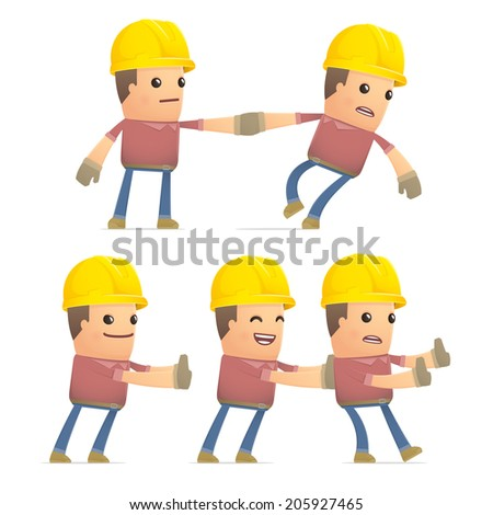 set of builder character in different interactive  poses