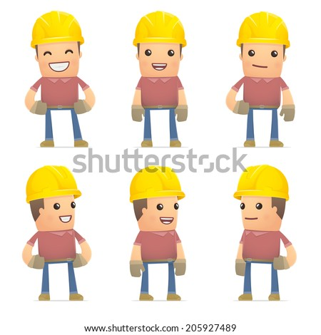 set of builder character in different interactive  poses - stock vector