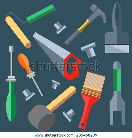 Set of building materials to work on a construction site. Saw, hammer, brush, spatula. Logo design elements. Tools into a flat style on gray background. Vector illustration - stock vector