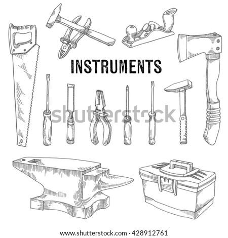 Set of building tools - stock vector