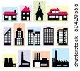 set of buildings - stock vector