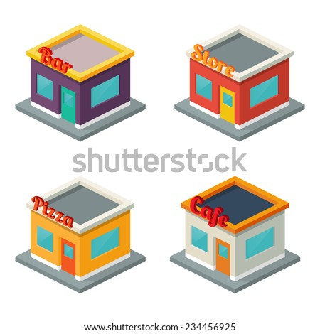 Set of buildings: bar, store, pizza, cafe. Isometric style - stock vector