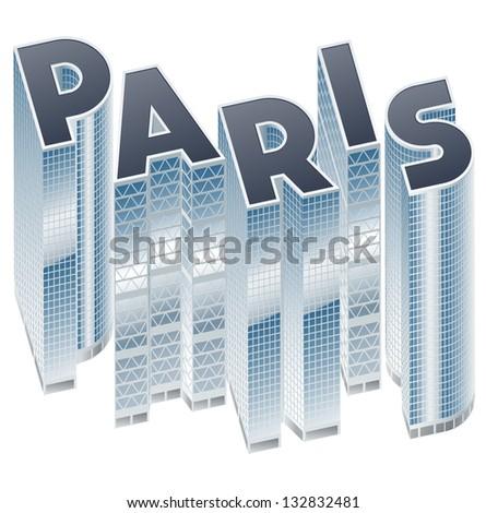 Set of buildings in form of alphabet. Paris - stock vector