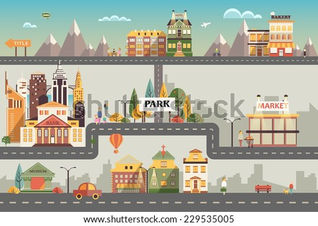 Set of buildings in the style of small business flat design. Roads and city against the sky and snow-capped mountains. Architecture of a small town market, salon, pharmacy, bakery, bank, coffee shop - stock vector